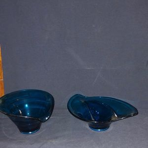 Two Cobalt Blue Dishes